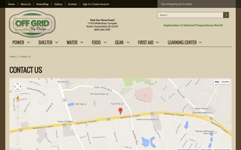 Screenshot of Contact Page offgridbydesign.com - Contact Us | Off Grid By Design - captured Oct. 27, 2014