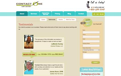 Screenshot of Testimonials Page wetakecalls.com - Customer Service Reviews, Telephone Answering Services, Tucson Arizona - captured Oct. 3, 2014