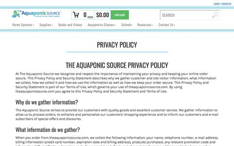 Screenshot of Privacy Page theaquaponicsource.com - Privacy Policy - captured June 14, 2017