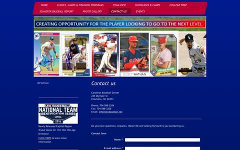 Screenshot of Contact Page cbcbaseball.net - Charlotte Youth/Travel and Showcase Baseball Community - Contact Us - captured Jan. 26, 2016