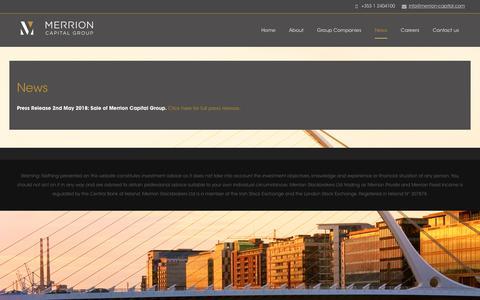 Screenshot of Press Page merrion-capital.com - News | - captured Sept. 20, 2018