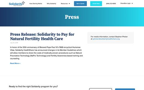 Screenshot of Press Page solidarityhealthshare.org - Press - Solidarity HealthShare - captured Nov. 2, 2018