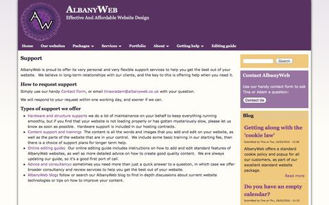 Screenshot of Support Page albanyweb.co.uk - Support | AlbanyWeb - captured June 29, 2016