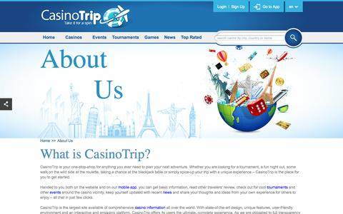 Screenshot of About Page casinotrip.co - About CasinoTrip - website and Mobile App - captured Sept. 29, 2014