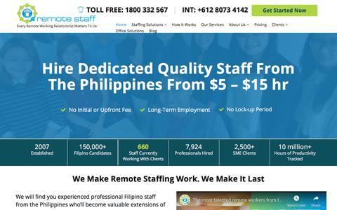 Screenshot of Home Page remotestaff.com.au - Outsource to Philippines – Hire Filipino Staff | Remote Staff - captured Feb. 16, 2020
