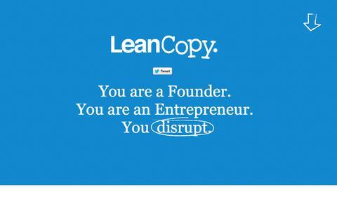Screenshot of Home Page leancopy.com - LeanCopy.com | Copywriting for lean start-ups - captured Sept. 29, 2014