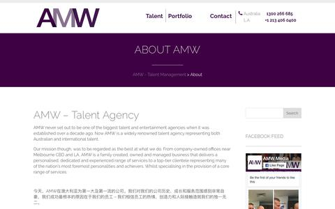 Screenshot of About Page amwmedia.com.au - Talent Management Agency - captured July 28, 2018