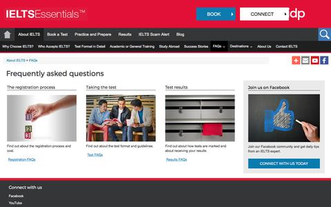 Screenshot of FAQ Page ieltsessentials.com - Frequently asked questions about IELTS - captured Nov. 20, 2017