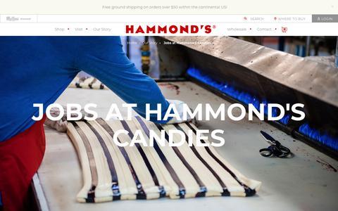 Screenshot of Jobs Page hammondscandies.com - Jobs at Hammond's Candies - Hammond's Candies - captured July 16, 2018