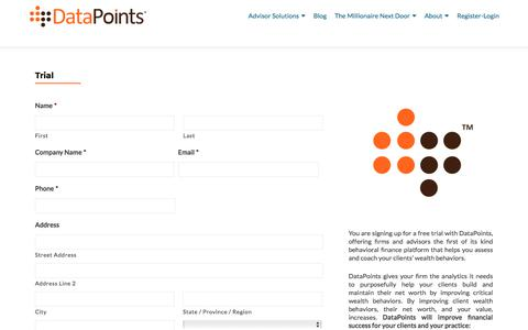 Screenshot of Trial Page datapoints.com - Trial - DataPoints - captured Sept. 19, 2018
