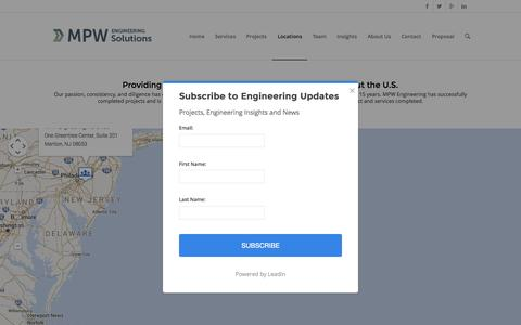 Screenshot of Locations Page mpwengineering.com - Locations - MPW Engineering - captured Sept. 26, 2015