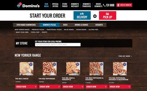 Screenshot of Menu Page dominos.com.au - Domino's Pizzas Menu - Domino's Pizza - captured Sept. 21, 2018