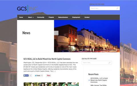 Screenshot of Press Page gcs-dc.com - News « GCS, Inc. - captured Oct. 1, 2014