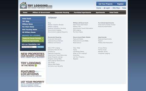 Screenshot of Site Map Page tdylodging.com - TDY Lodging - Site Map - captured Sept. 30, 2014
