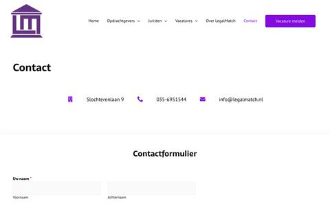 Screenshot of Contact Page legalmatch.nl - Contact – LegalMatch - captured Dec. 14, 2019
