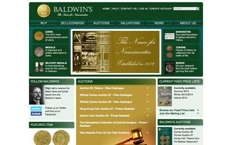 Screenshot of Home Page baldwin.co.uk - Baldwin's - Buy and Sell Rare Coins -   Gold, Silver and Bronze - Medals, Banknotes and Tokens by fixed price and at auction. - captured Sept. 25, 2014