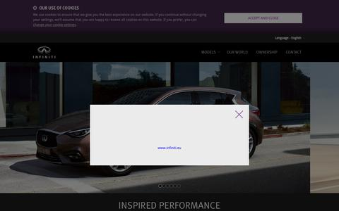 Screenshot of Home Page infiniti.eu - Infiniti: High performance cars, photos, prices of new luxury cars - captured Oct. 16, 2015