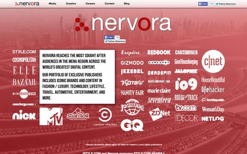 Screenshot of Home Page nervora.com - Nervora - Digital Advertising, Middle East - captured Sept. 30, 2014