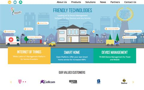 Screenshot of Home Page friendly-tech.com - Smart Home, IoT and TR-069 Management Solutions by Friendly Technologies - captured Feb. 10, 2016