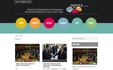 Screenshot of Press Page agora-parl.org - News | Agora Portal - captured Oct. 4, 2014