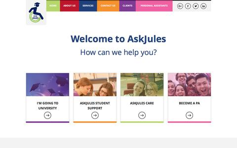 Screenshot of Home Page askjules.co.uk - Services for Young Adults with Disabilities | AskJules - captured Oct. 8, 2017
