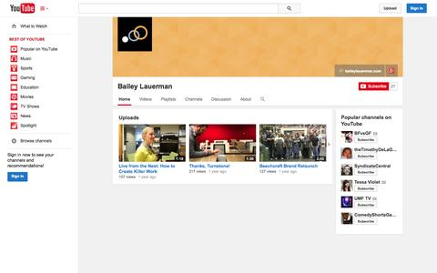 Screenshot of YouTube Page youtube.com - Bailey Lauerman  - YouTube - captured Oct. 23, 2014