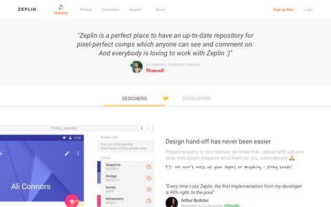 Screenshot of zeplin.io - Features | Zeplin - captured July 23, 2017