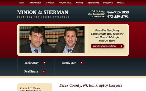 Screenshot of Home Page Menu Page minionsherman.com - Essex County, NJ Bankruptcy Lawyers | Newark, NJ Divorce Attorneys - captured Sept. 30, 2014