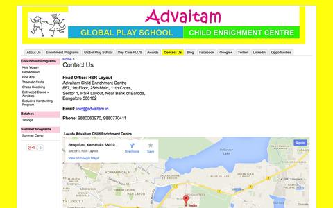 Screenshot of Contact Page advaitam.in - Contact Us - Advaitam Child Enrichment Centre, HSR Layout - captured Oct. 4, 2014