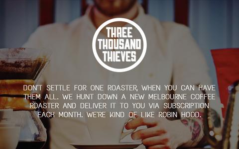 Screenshot of Home Page threethousandthieves.com - Three Thousand Thieves - captured Oct. 9, 2014