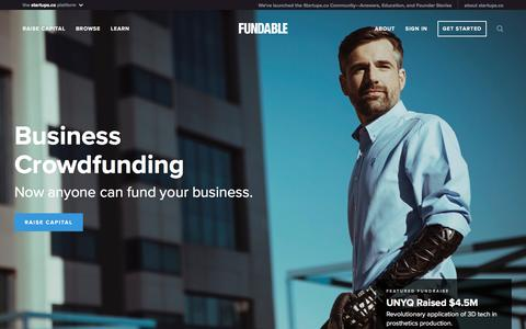 Screenshot of Home Page fundable.com - Fundable | Crowdfunding for Small Businesses - captured Sept. 29, 2016