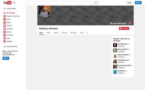 Screenshot of YouTube Page youtube.com - Zachary Johnson  - YouTube - captured Nov. 3, 2014