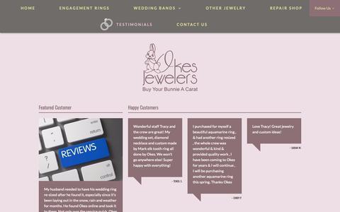 Screenshot of Testimonials Page okesdiamondcenter.com - Testimonials: Casper, WY: Okes Jewelers - captured Oct. 18, 2018