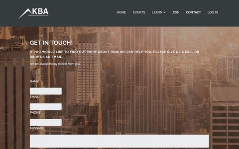 Screenshot of Contact Page kbabiz.com - Contact – KBA - captured Nov. 2, 2016