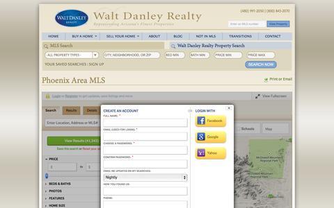 Screenshot of Signup Page waltdanley.com - Phoenix Area MLS - Walt Danley Realty - captured Oct. 7, 2014