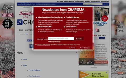 Screenshot of Menu Page charismamag.com - Menu - captured Oct. 31, 2014