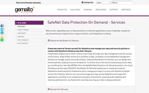Screenshot of Services Page gemalto.com - Data Protection on Demand | Gemalto's Cloud-based On-demand Services - captured Nov. 1, 2017