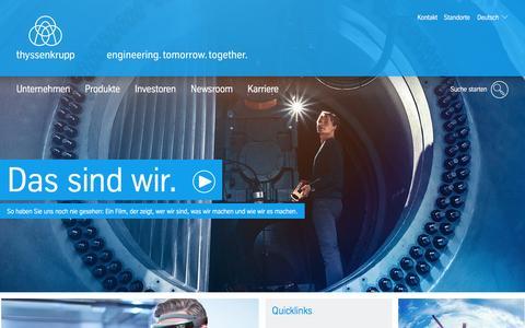 Screenshot of Home Page thyssenkrupp.com - thyssenkrupp – engineering. tomorrow. together. – thyssenkrupp AG - captured Oct. 14, 2016