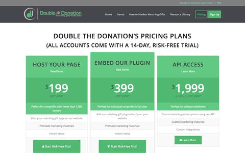 Screenshot of Pricing Page doublethedonation.com - Pricing of Double the Donation's Service - captured Oct. 17, 2015