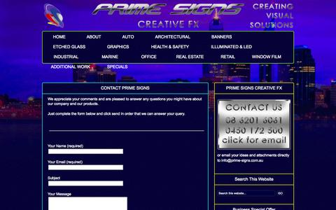 Screenshot of Contact Page prime-signs.com.au - Contact Prime Signs : Prime Signs Perth Signwriter - captured Oct. 3, 2014
