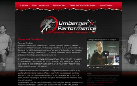 Screenshot of Terms Page umbergerperformance.com - Terms and Conditions - Umberger Performance - captured Sept. 30, 2014