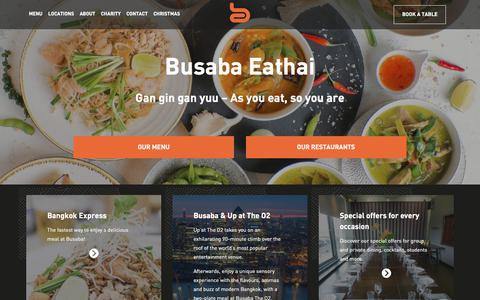 Screenshot of Home Page busaba.com - Thai Restaurants in London | Busaba Bangkok Thai - captured Sept. 25, 2018