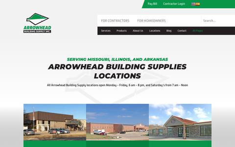 Screenshot of Locations Page arrowheadbuildingsupply.com - Arrowhead Building Supply Locations | Building Supplies & Materials - captured Oct. 4, 2018