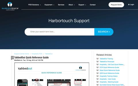 Screenshot of Support Page harbortouch.com - TabbedOut Quick Reference Guide : Harbortouch Support Center - captured Oct. 9, 2018
