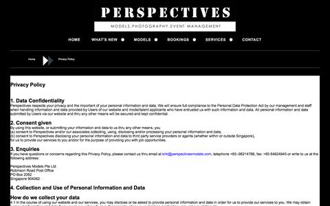 Screenshot of Privacy Page perspectivesmodels.com - Perspectives Models - captured May 16, 2017