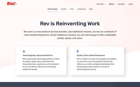 Screenshot of About Page rev.com - What is Rev? - Rev - captured Sept. 19, 2018