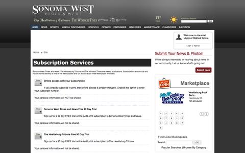 Screenshot of Services Page sonomawest.com - Sonoma West Publishers : Subscription Services - captured Oct. 6, 2014