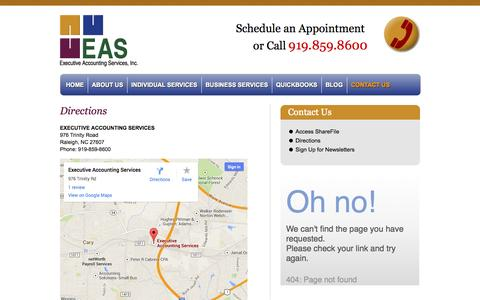 Screenshot of Maps & Directions Page easnc.com - Bookkeeping | Payroll | QuickBooks | Multi-State Taxes - captured Oct. 3, 2014