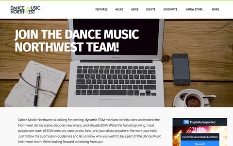 Screenshot of Jobs Page dancemusicnw.com - Join The Dance Music  Northwest Team! - captured Sept. 29, 2015