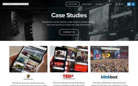 Screenshot of Case Studies Page storystream.it - StoryStream - Case Studies - captured Sept. 30, 2014